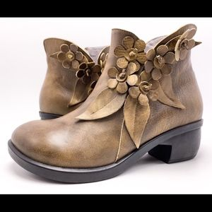 Socofy EU 40 US 9 Brown Leather Ankle Boots